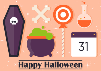 Free Flat Halloween Vector Elements - бесплатный vector #393759