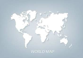 Free Vector World Map White 3D - vector gratuit #393809