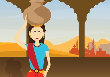 Free Indian Woman Illustration - vector gratuit #393939