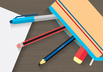 Stationary and Pencil Case Vector - Kostenloses vector #394009