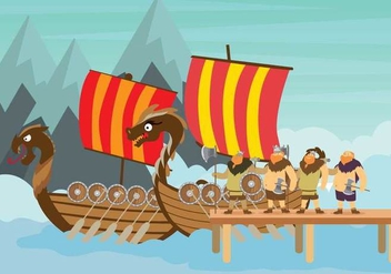 Free Viking Ship Illustration - бесплатный vector #394109