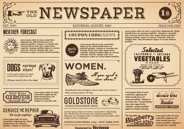 Free Old Newspaper Vector - Free vector #394119