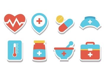 Free Hospital Sticker Icons - vector gratuit #394229
