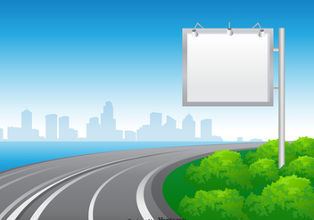 Free Blank Hoarding At The Road Vector - vector gratuit #394239
