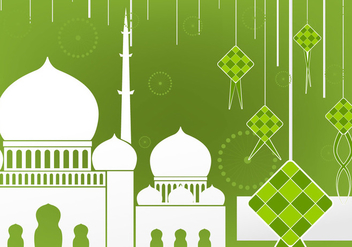 Flat design of Ketupat and Mosque - vector gratuit #394249