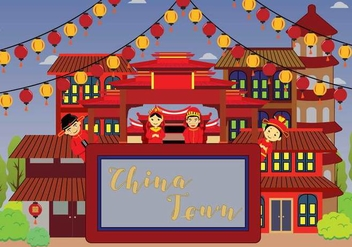 Free China Town Illustration - vector #394309 gratis