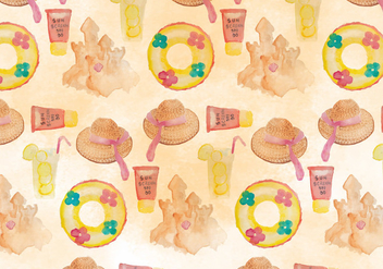 Summer Seamless Beach Pattern - бесплатный vector #394329