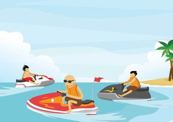 Free Jet Ski Illustration - Kostenloses vector #394339