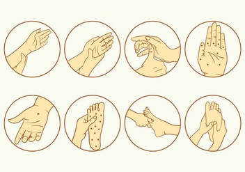 Reflexology Icon Set - Free vector #394359