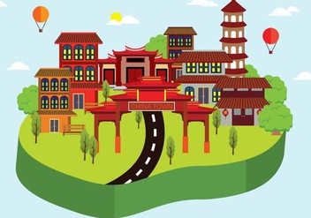 Free China Town Illustration - бесплатный vector #394519