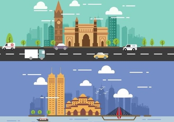 Mumbai City Vector Flat Designs - бесплатный vector #394569