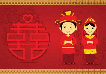 Free Chinese Wedding Illustration - бесплатный vector #394729