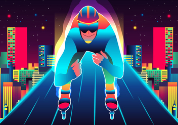 Man Skating On Roller Blade - vector gratuit #394829