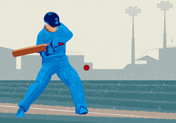 Cricket Player Hitting The Ball - vector gratuit #394839