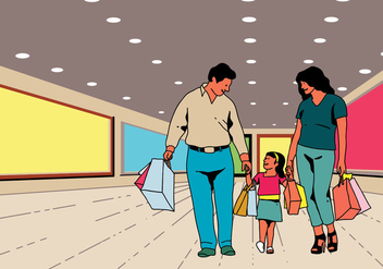 Happy Family Shopping Together - Kostenloses vector #395019