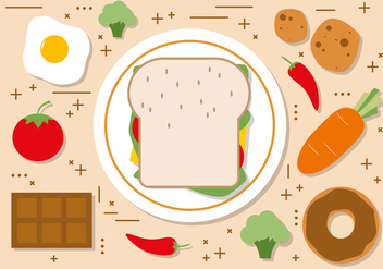 Free Flat Sandwhich Vector Illustration - бесплатный vector #395049