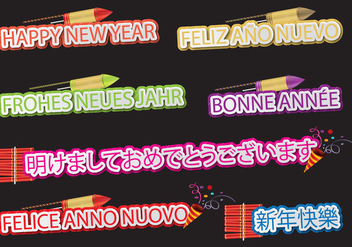 Happy New Year Languages - vector #395189 gratis