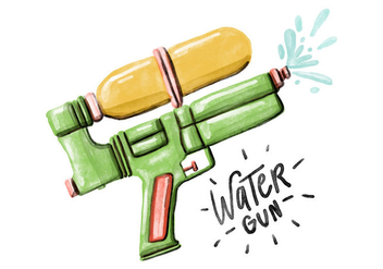 Free Water Gun Watercolor Vector - Free vector #395259