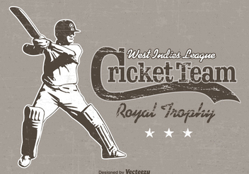 Free Cricket Player Retro Vector Poster - Free vector #395419