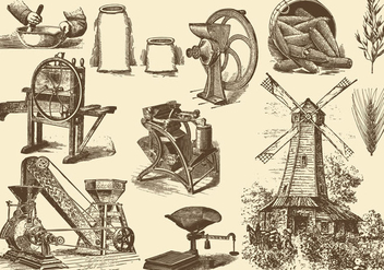 Grain And Mill Illustrations - бесплатный vector #395449