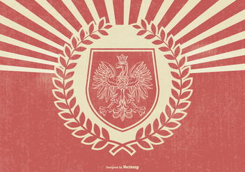 Retro Style Polish Eagle Illustration - Free vector #395539