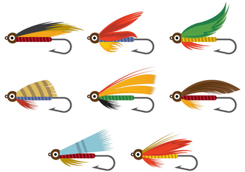 Vector Of Fly Fishing Lures Hook - бесплатный vector #395579