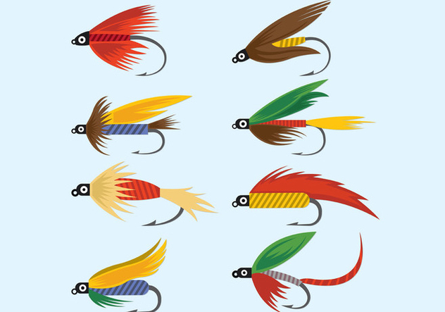 Vector Of Fly Fishing Lures Hook - бесплатный vector #395629