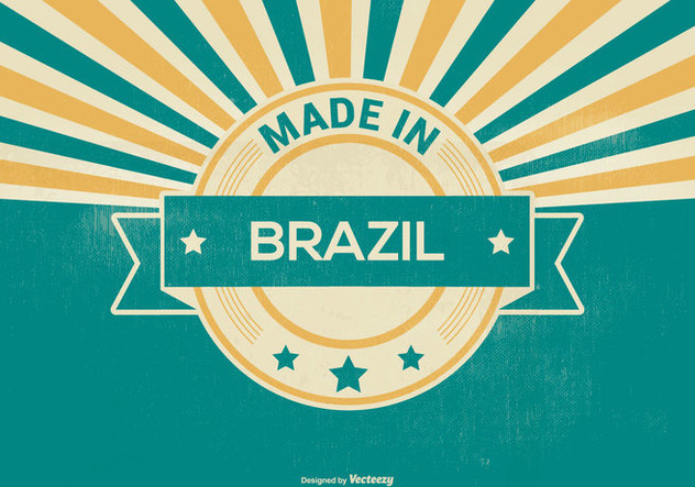 Made In Brazil Retro Illustration - vector gratuit #395699
