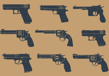Handgun Pictogram - Free vector #395889