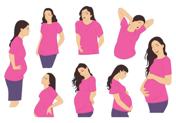 Pregnant Mommy Vector - Free vector #395899