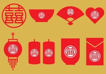 Chinese Wedding Icons - Free vector #395959