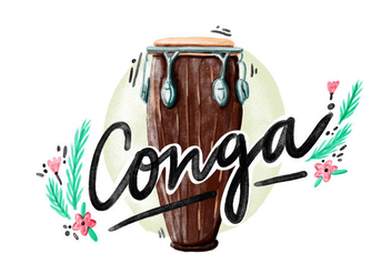 Free Conga Watercolor Vector - vector gratuit #396189