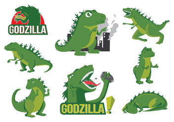 Free Godzilla Cartoon Vector - бесплатный vector #396199