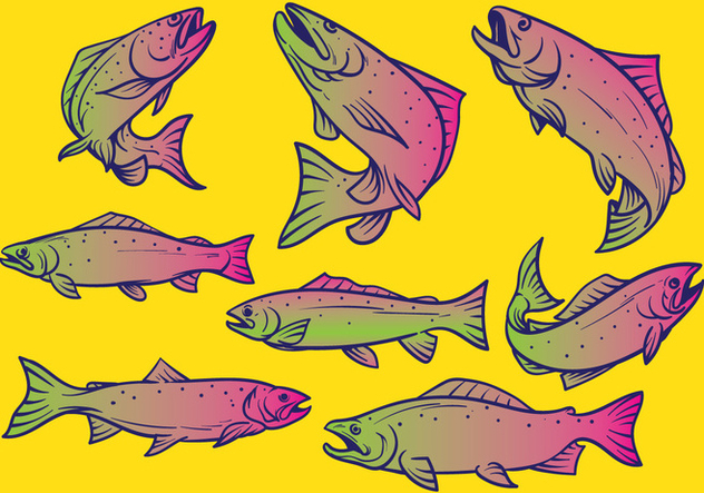 trucha pescado vector illustration - vector #396359 gratis