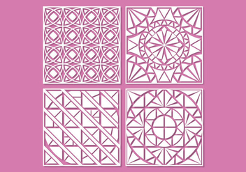 White geometric laser cut ornament vectors - Free vector #396399