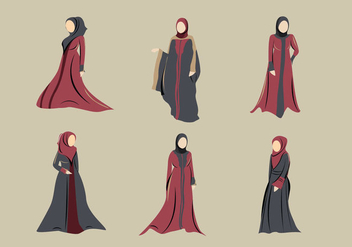 Abaya muslim hijab dress - Free vector #396449