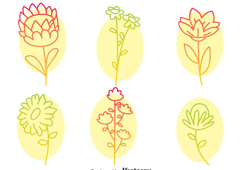 Flowers Collection Line Icons Vector - бесплатный vector #396619