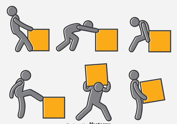 Man Pushing Box Vector - Kostenloses vector #396689