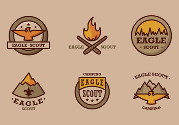 Eagle scout logo vintage vector pack - Free vector #396859
