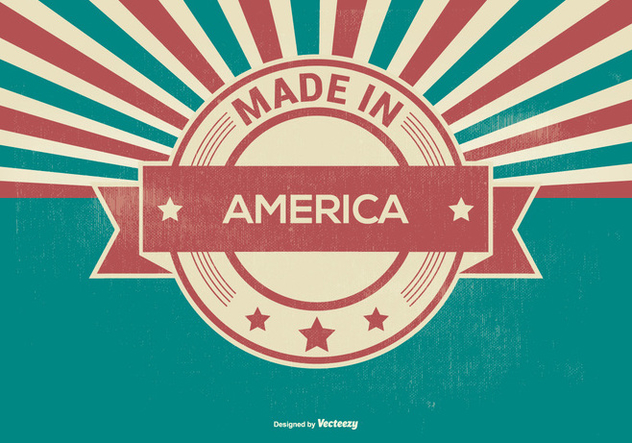 Retro Made in America Illustration - Free vector #396959
