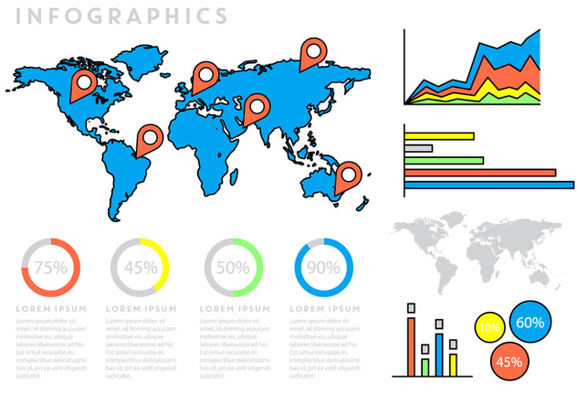 Infographics With World Map - vector gratuit #397099