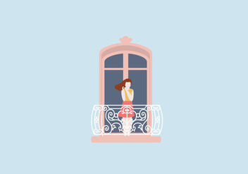 Woman At Balcony Illustration - vector gratuit #397209