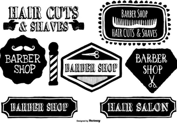 Cute Hand Drawn Barber Shop Labels - vector gratuit #397229
