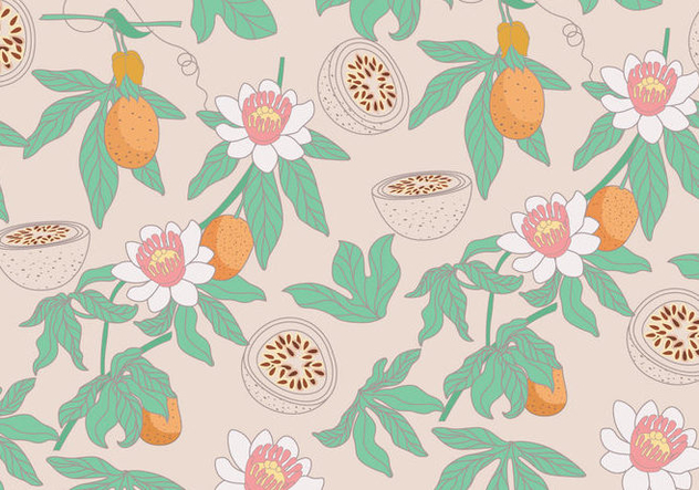 Passion Fruit Pattern Vector - Free vector #397389