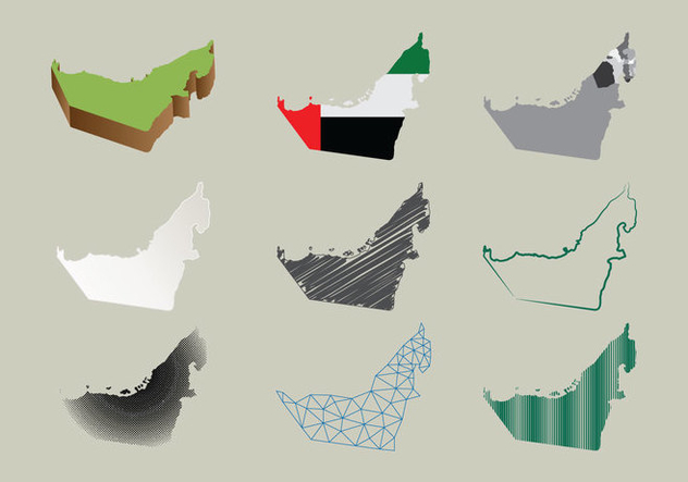 Free UAE Map In Many Styles - Kostenloses vector #397469
