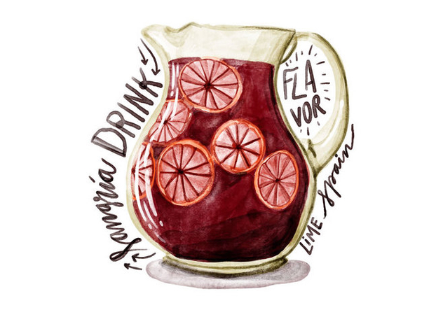 Sangria Watercolor Vector - бесплатный vector #397649