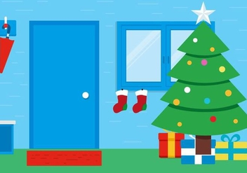 Free Vector Christmas Room Background - Free vector #397929
