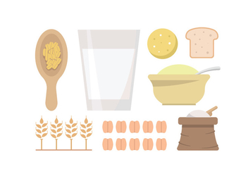 Oatmeal and Grain Vectors - vector gratuit #398179