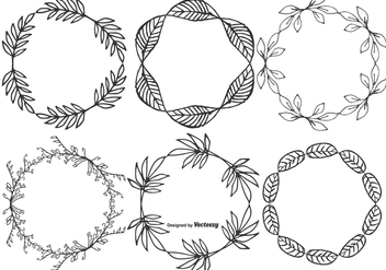 Cute Hand Drawn Sketchy Leaf Frames - vector #398209 gratis