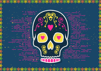 Free Halloween Sugar Skull Vector Illustration - Free vector #398229